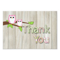 Owl Baby Shower Thank you in Pink Card