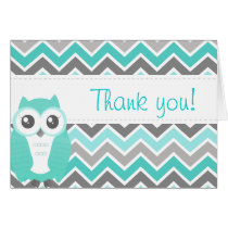 Owl Baby Shower Thank You Note Green Chevron Card