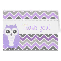 Owl Baby Shower Thank You Note Lilac Chevron Card