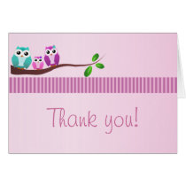 Owl Baby Shower Thank You Note Pink Card