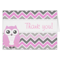 Owl Baby Shower Thank You Note Pink Chevron Card