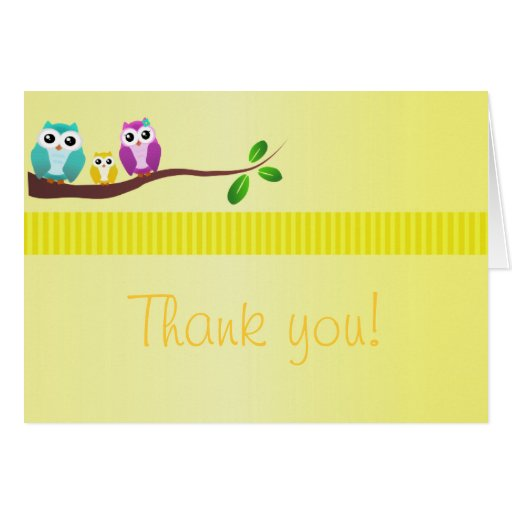 Owl Baby Shower Thank You Note Yellow Card