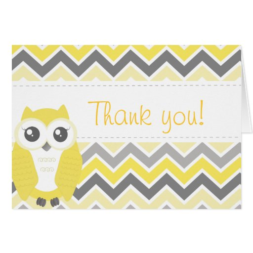 Owl Baby Shower Thank You Note Yellow Chevron Greeting Cards