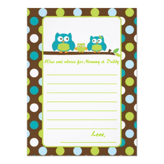 "Owl Baby Shower ""Words of advice"" Card"