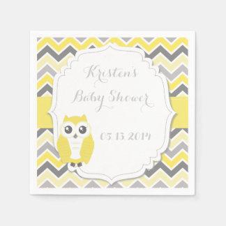 Owl Baby Shower Yellow Chevron Paper Napkin