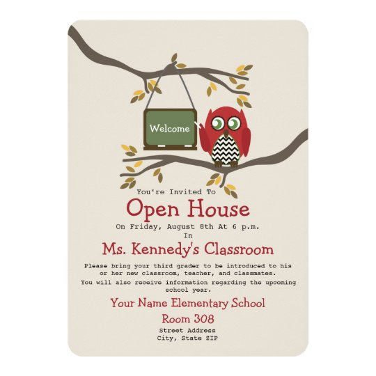 owl back to school classroom open house invite. Black Bedroom Furniture Sets. Home Design Ideas