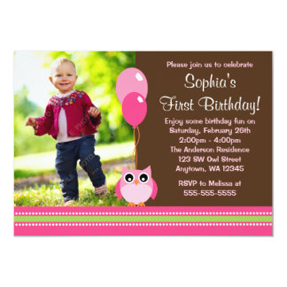 Owl Balloons Brown Pink Photo Birthday 5x7 Paper Invitation Card
