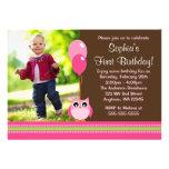 Owl Balloons Brown Pink Photo Birthday Custom Invitation