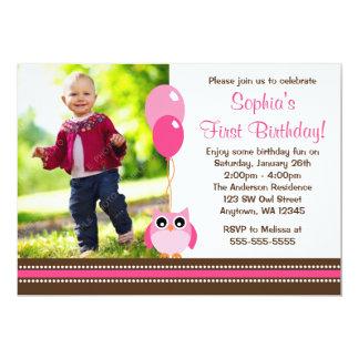 Owl Balloons Pink Brown Photo Birthday Card