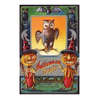 Owl Bat Crescent Moon Jack O' Lantern Photo Print