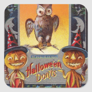 Owl Bat Crescent Moon Jack O' Lantern Square Sticker