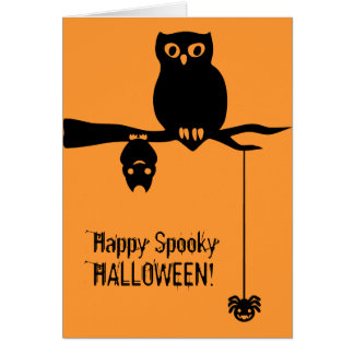 Owl-Bat-Spider Spooky Halloween Card