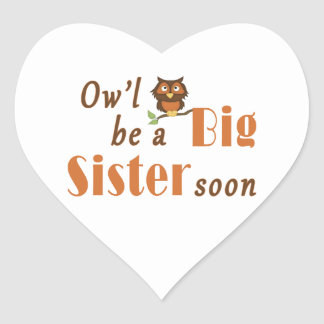 Ow'l Be A Big Sister Soon 2 Heart Sticker