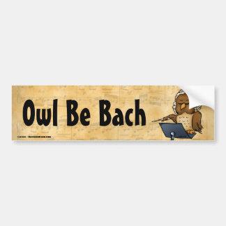 Owl Be Bach Funny Owl Cartoon Car Bumper Sticker