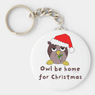 Owl Be Home Basic Round Button Keychain