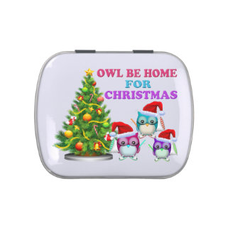 Owl Be Home For Christmas Jelly Belly Candy Tin