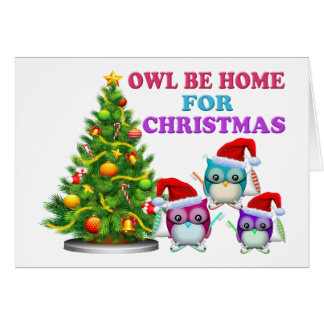Owl Be Home For Christmas Cards