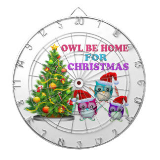 Owl Be Home For Christmas Dartboard With Darts