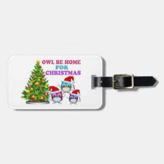 Owl Be Home For Christmas Travel Bag Tags