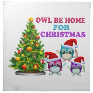Owl Be Home For Christmas Napkin