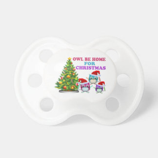 Owl Be Home For Christmas Baby Pacifier
