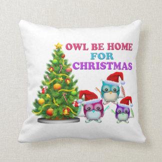 Owl Be Home For Christmas Pillows