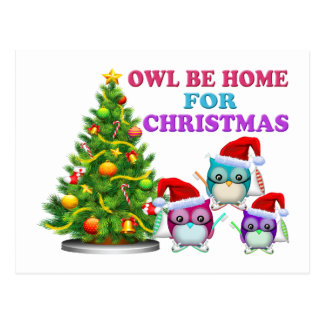 Owl Be Home For Christmas Postcard