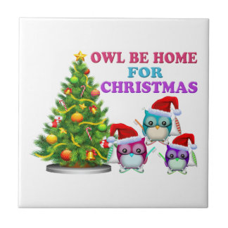 Owl Be Home For Christmas Tiles