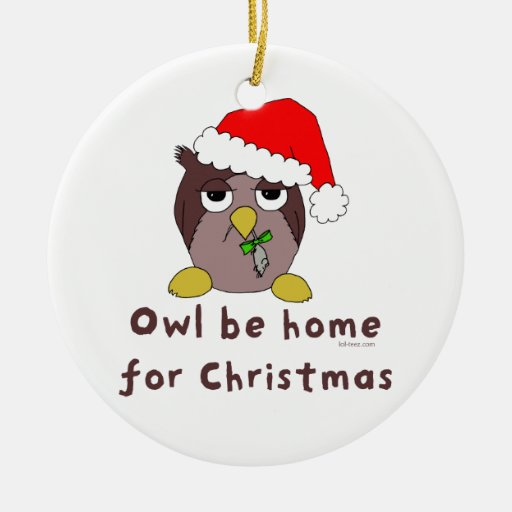 Owl Be Home Double-Sided Ceramic Round Christmas Ornament
