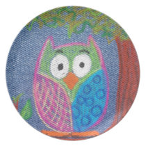 Owl be waiting melamine plate