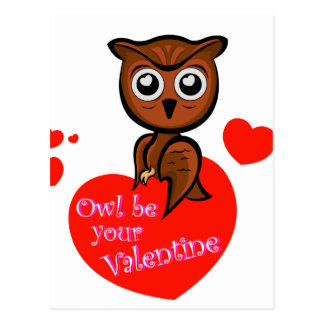 Owl be your valentine postcard
