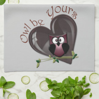 Owl be Yours, Cute Owl and Heart American MoJo Kit Towels
