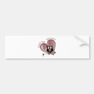 Owl be Yours, Valentine Cute Red Owl and Heart Bumper Sticker