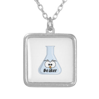 Owl Beaker Cartoon Illustration Silver Plated Necklace