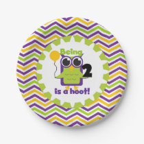 Owl Being 2 is a Hoot Birthday Paper Plates