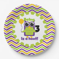 Owl Being 3 is a Hoot Birthday Paper Plates
