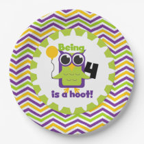 Owl Being 4 is a Hoot Birthday Paper Plates
