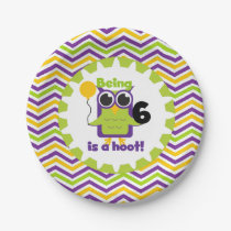 Owl Being 6 is a Hoot Birthday Paper Plates
