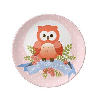 Owl best grandma granny grandmother flower banner porcelain plate