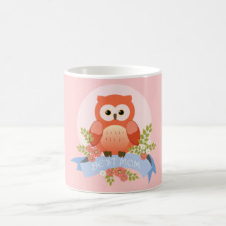 Owl best mom flower banner coffee mug
