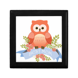 Owl best mom flower banner gift box