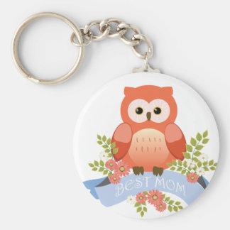 Owl best mom flower banner keychain