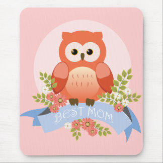 Owl best mom flower banner mouse pad