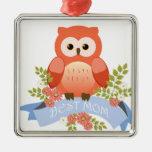 Owl best mom flower banner square metal christmas ornament