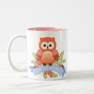 Owl best mom flower banner Two-Tone coffee mug