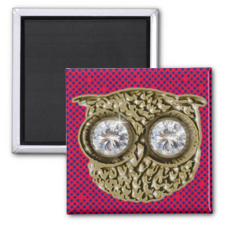 owl bird . diamond eyes magnet