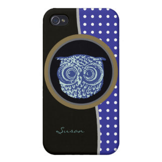 owl bird & dots personalized case for iPhone 4