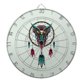 Owl Bird Dreamcatcher Art Dartboard With Darts