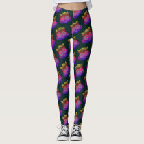 OWL BIRD FACE GLOWING by Slipperywindow Leggings