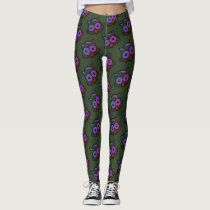 OWL BIRD FACE GREEN & BROWN by Slipperywindow Leggings
